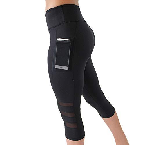 IMEKIS Damen Sport Leggings 3/4 Sporthose Yogahose Laufhose Hohe Taille Mesh Fitnesshose Jogginghose...