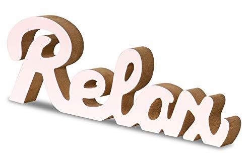levandeo Schriftzug Relax L30cm Pastell Rosa Holz Tischdeko Deko Aufsteller Wohndeko