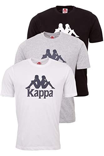 Kappa Herren T-Shirt VEPPEL im 3er Pack   Sport-Shirt mit Rundhalsausschnitt und Logodruck   Basic...