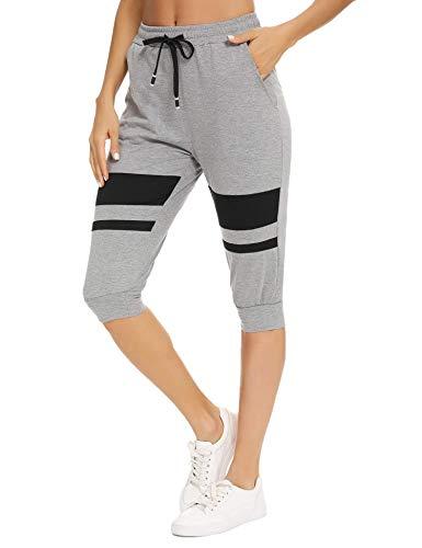 Akalnny Damen 3/4 Sporthose Jogginghose Sportleggings Yogahose mit Kontraststreifen für Sport und...