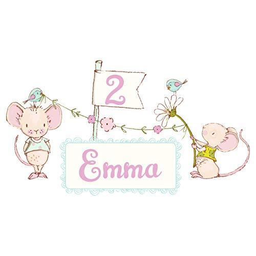 MissRompy Geburtstag Bügelbild Maus (805) für dunkle und helle Stoffe Zahl groß Aufbügler Alter...