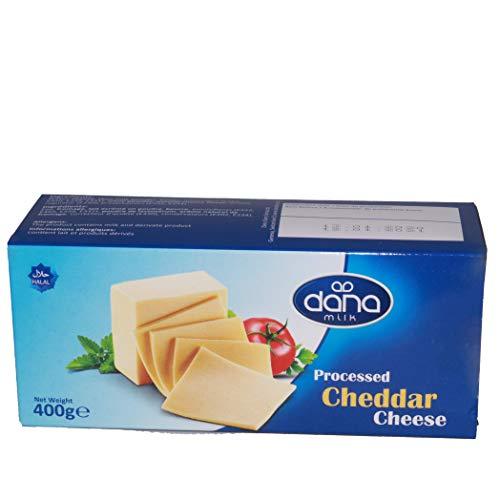 Dana Cheddar Schmelzkäse Block 400g Käse zum kochen für Makkaroni, Fondue, Pasta, Burger, Pizza,...