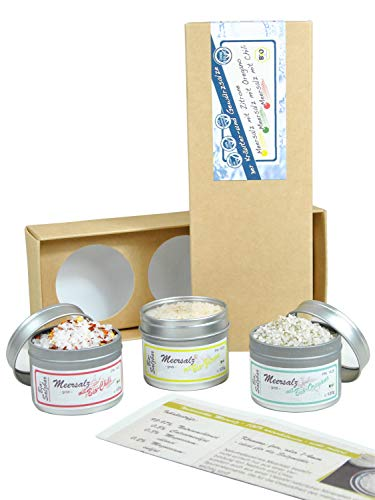 direct&friendly Bio Salz Geschenkset grobes Meersalz mit Chili, Oregano und Zitrone