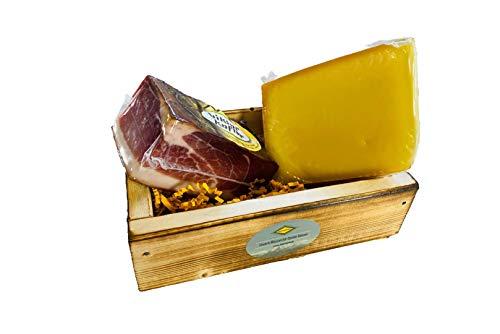 Südtiroler Geschenkebox - Speck & Käse - 1/6 Hamme 500g 6 Monate gereift- 300g Bauernkäse -...