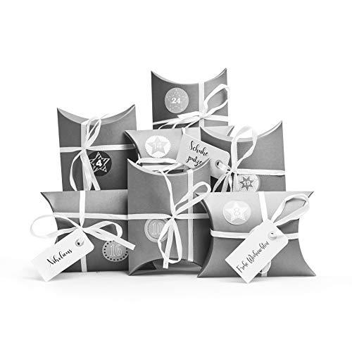 Plantvibes 24 Adventskalender Boxen, Geschenkboxen aus hochwertiger Pappe inkl. 3 x 24 Sticker, DIY...