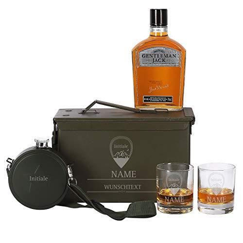 Herz & Heim® 5-tlg Jack Daniel's Gentleman Jack Whiskey in US Army Munitionskiste mit 2 gravierten...