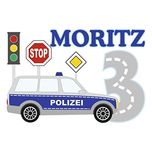 MissRompy Geburtstag Bügelbild Polizei (804) für dunkle und helle Stoffe Zahl groß Aufbügler...