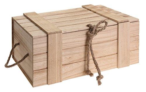 Meinposten Holzkiste mit Deckel Kiste Schatzkiste Schatztruhe Holzkasten Holz braun Truhe mit Deckel...