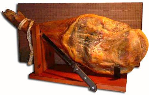 Ganze Serrano Schinken Keule im Set mit Halterung und Messer direkt aus Spanien - vollständiges...