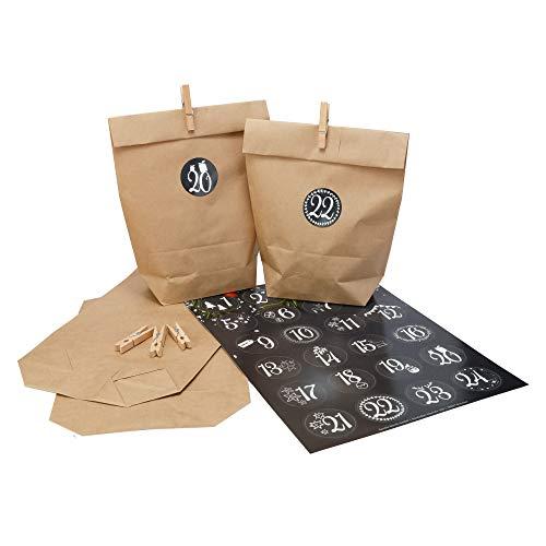 DIY Adventskalender Set zum selbst Befüllen (Papiertüten mit Zahlen Aufkleber 1-24 und Klammer) -...