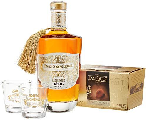 Jacquot HONEY-COGNAC Liqueur ABK6 und französische Schokoladentrüffel und zwei originale Gläser...