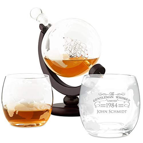 Murrano Whisky Karaffe mit Gravur - Globus mit Schiff, 850 ml - 2er Whiskygläser Set - Whisky...