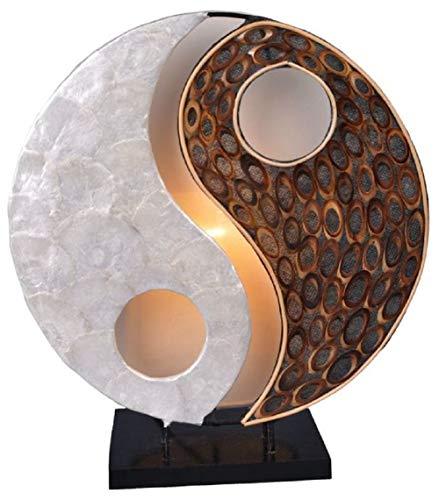 Deko-Leuchte YING YANG NATUR, rund, Natur-Material, Höhe ca. 30 cm, Stimmungsleuchte
