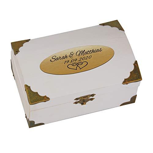 Geschenke 24 Holz-Schatzkiste weiß zur Hochzeit mit Gravur (Gold, Herzen): personalisierte...