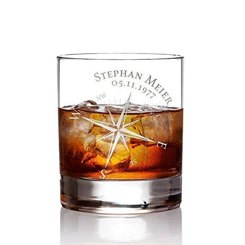 AMAVEL Whiskyglas mit Gravur Kompass, Personalisiert mit Namen und Datum, Tumbler Whiskeyglas,...