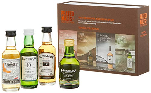 Peated Malts Whisky Geschenkset Mit Bowmore, Laphroaig, Connemara, the Ardmore, 4 x 0,05l, (4er...