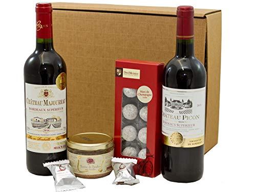 Geschenkset französischer Genuss | 2 x französischer Rotwein (Bordeaux) trocken | Trüffel Marc de...