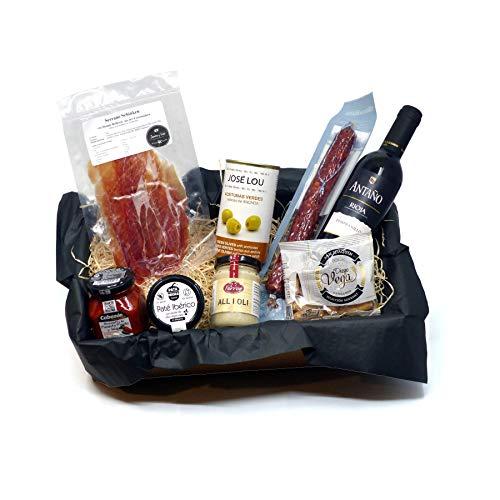 Geschenkkorb mit Spanischen Feinkost Delikatessen - Tapas Abend - Geschenkset Präsentkorb Spanien...