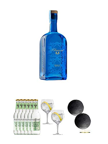 Bluecoat American Dry Gin 0,7 Liter + Fever Tree Elderflower Tonic Water 6 x 0,2 Liter + Spiegelau...