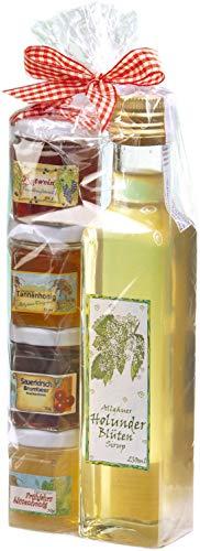 Geschenkset aus dem Allgäu | 250ml feinster handgemachter Holunderblüten-Sirup | Marmeladen-Honig...