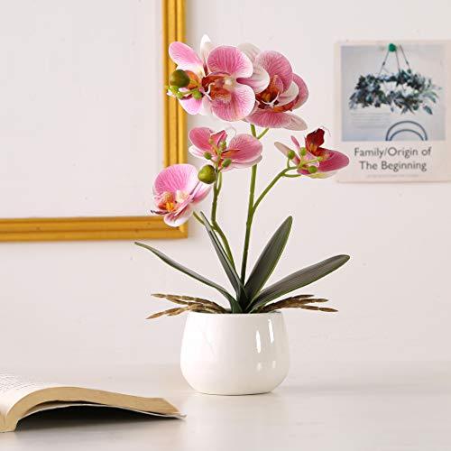 ENCOFT Kunstblumen orchideen Kunstpflanze Künstliche Blumen aus Eva Keramik Wohndeko Kunstbulme mit...