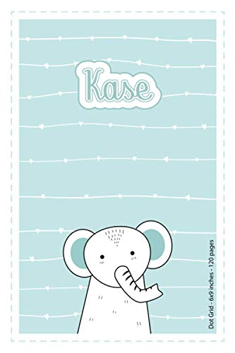 Kase: Personalized Name Dot Grid Paper Notebook Light Blue Elephant   6x9 inches   120 pages:...