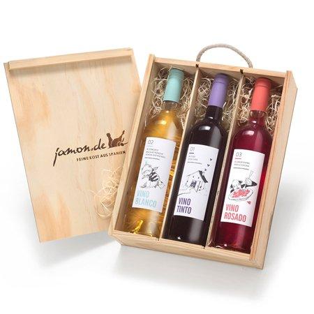 Geschenk für Weinliebhaber   Weingeschenk SPANIEN   Je 1 Flasche Rotwein, Weißwein & Roséwein aus...