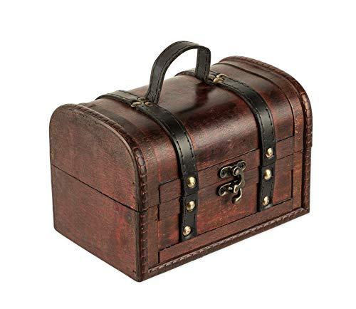 Schatztruhe aus Holz - 18 x 12 x 12 cm - Schatzkiste mit Verschluss, Dekotruhe, Holztruhe, Holzbox...