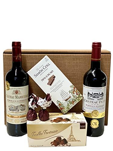 Geschenkset französische Genüsse | 2 x französischer Rotwein (Bordeaux) trocken |...