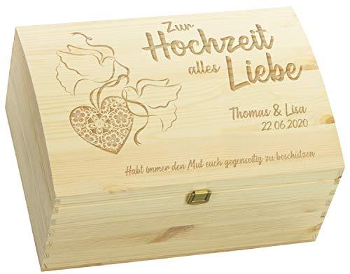 LAUBLUST Holztruhe zur Hochzeit - Turteltauben - Geschenkkiste Personalisiert mit Gravur - ca....