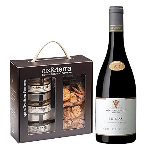 Wein & Aperitif Feinkost Geschenkbox mit Premium Delikatessen aus Frankreich - 1 Flasche...