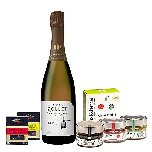 Französische Feinkost & Champagne Geschenkbox - mit 1 Flasche Champagner Rosé, BIO provenzalischen...