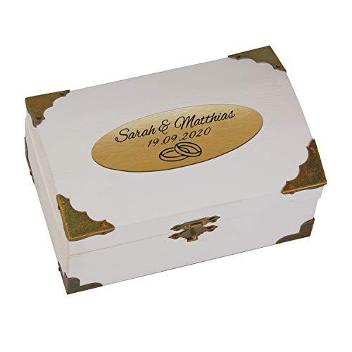 Geschenke 24 Holz-Schatzkiste weiß zur Hochzeit mit Gravur (Gold, Ringe): personalisierte...