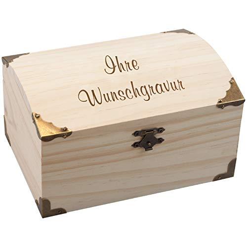Geschenke 24 Schatzkiste – mit Wunschtext Aufbewahrungsbox aus Holz für Andenken, Souvenirs,...