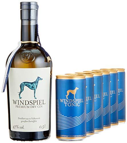 Windspiel Genusspaket London Dry Gin 47% vol. (1 x 0,5L) & Windspiel Tonic Water Dosen (6 x 200ml) -...