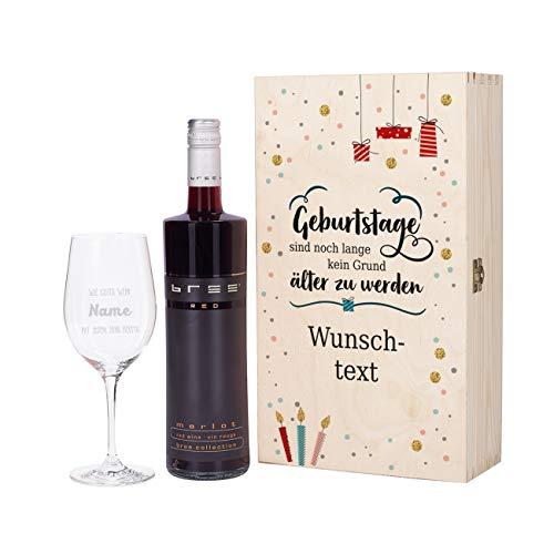 Herz & Heim® Geburtstagsgeschenk mit graviertem Weinglas und Bree Wein zur Auswahl in Präsentbox...