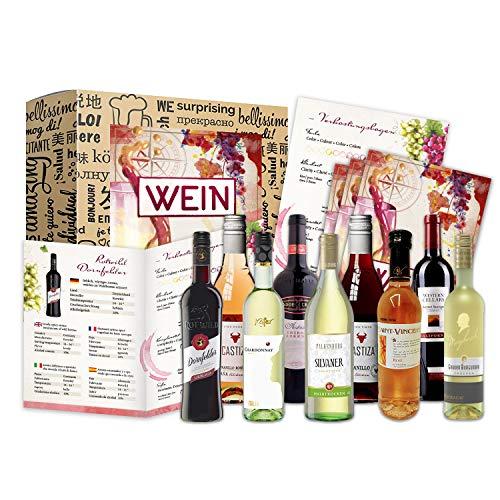Wein Geschenk Set (9 x 0,25l) | besonderes Weingeschenk Box ausgefallene Geschenkidee für Frauen...