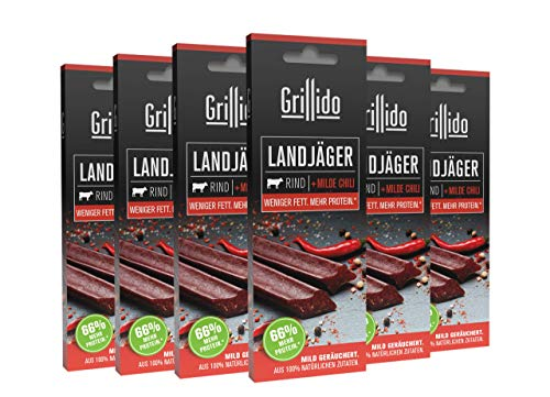 Grillido Landjäger I 6er Pack Rind & Chili I Die Beef-Jerky Alternative mit wenig Zucker | mit 37%...