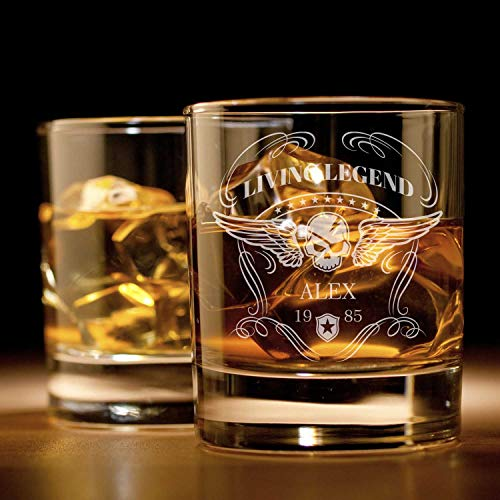 Whiskyglas mit Gravur (Totenkopf-Design) | Whiskey-Glas mit massivem Boden personalisierbar mit...