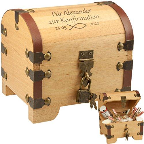 Geschenke 24 Holz-Schatztruhe zur Konfirmation mit Gravur Holz – personalisierte Schatzkiste als...