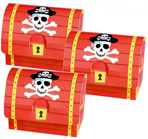 8 Schatztruhen aus Karton für kleine Piraten von AMSCAN // 399900 //Schatztruhe Schatzkiste...