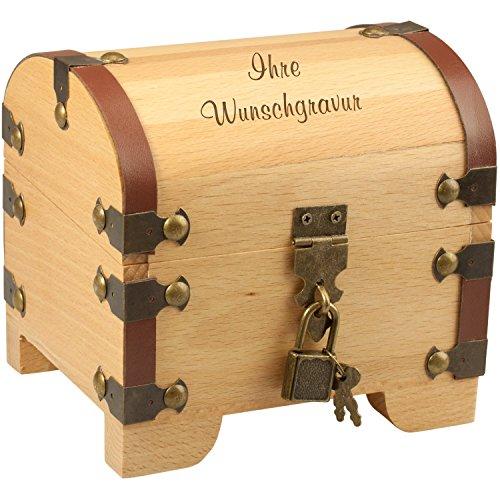 Geschenke 24 Holz-Schatztruhe mit Wunsch-Gravur und Schloss – personalisierte Geldgeschenke...