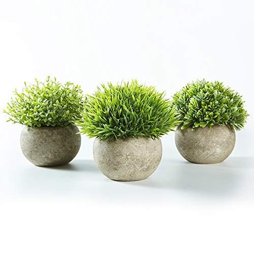 Jobary Set mit 3 künstlichen grünen Gras Pflanzen in grauen Töpfen, kleine dekorative Faux...