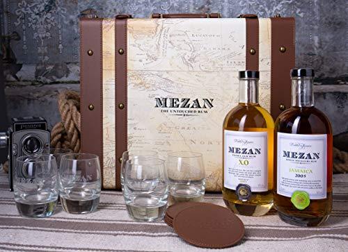 Mezan Rum Koffer Luxury Pack mit 1x0,7l Jamaica XO 40% vol + Jamaica 2005 46% vol + 6 Gläser + 6...