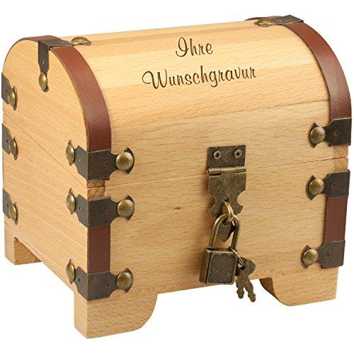 Geschenke 24 Holz-Schatztruhe mit Gravur - 3 Zeilen Wunschgravur mit je 15 Zeichen - Geldgeschenk...