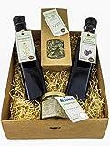 Schwäbisches Gewürz Geschenkset/Geschenkkorb mit Leindotteröl Salatöl Öl, Apfel-Brombeer...