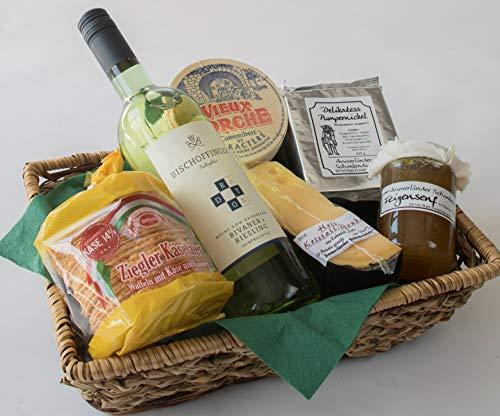 Käse-Präsentkorb Nr. 50 Käse-Geschenk mit köstlichem Gouda, französischem Camembert, Glas...