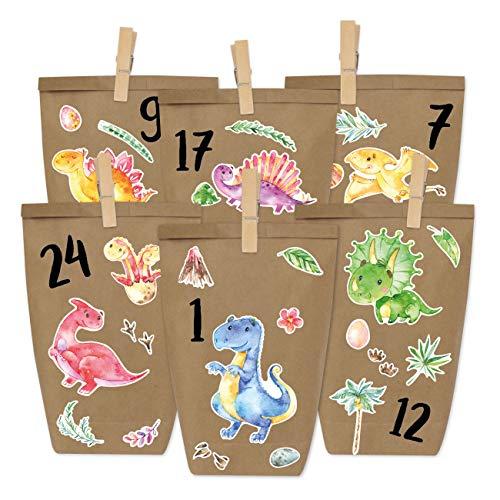 Papierdrachen DIY Adventskalender zum Befüllen - Dinosaurier zum Aufkleben - mit 24 braunen...
