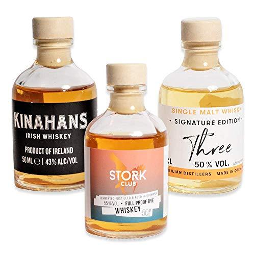 Foodist Whisky Tasting Probierset Miniaturflaschen (3 x 50ml) mit St. Kilians, Kinahans, STORK Club...
