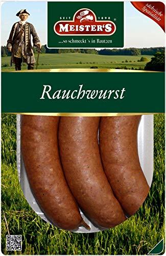Echte Rauchwurst aus Bautzen, auf Buchenholz geräuchert, eine herzhafte Wurst Delikatesse aus der...